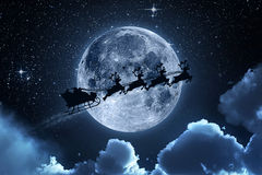 Santa Claus Flying On The Sky Stockbild