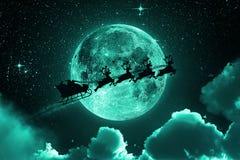 Santa Claus Flying On The Sky - Green Royalty Free Stock Photos