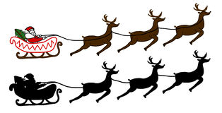 Santa Claus is flying in a sleigh. Christmas background Royalty Free Stock Photos