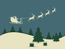 Santa Claus is flying in a sleigh with reindeer. Merry Christmas. Vector. Illustration Stock Photo