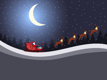 Santa Claus is flying in a sleigh with reindeer. Santa`s sleigh. Vector. Illustration Royalty Free Stock Photos