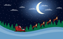 Santa Claus is flying in a sleigh with reindeer. Santa`s sleigh. Vector illustration Royalty Free Stock Photos