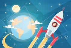 Santa Claus Flying In Space Rocket sobre el planeta de la tierra, la Feliz Navidad y la bandera de la Feliz Año Nuevo Imágenes de archivo libres de regalías