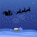 Santa Claus Flying Through The Night On Christmas Stock Images