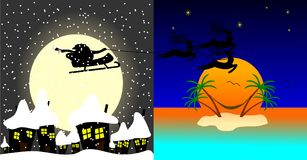 Santa Claus is flying from winter to the caribbean. Island Stock Illustration