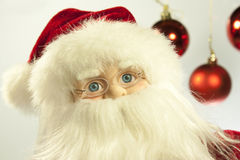 Santa Claus. Foreground of the face of a Santa Claus toy royalty free stock images