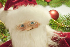 Santa Claus. Foreground of the face of a Santa Claus toy royalty free stock photos