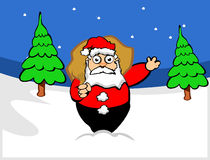 Santa claus in forest. Santa claus with bag in forest Stock Photography