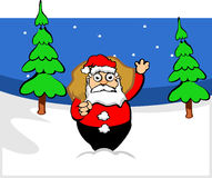 Santa claus in forest. Santa claus with bag in forest Stock Images