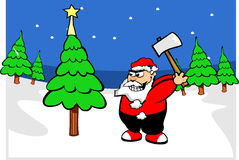Santa claus in forest. Santa claus in winter in forest Royalty Free Stock Photo