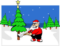 Santa claus in forest. Santa claus in winter in forest Royalty Free Stock Photography