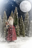 Santa Claus Forest Moon fotografie stock libere da diritti