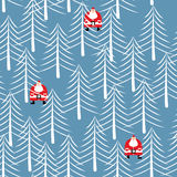 Santa Claus in forest seamless pattern. White trees Winter textu. Re. Christmas background. New Year ornament Stock Photography