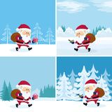 Santa Claus in forest, set Royalty Free Stock Photos