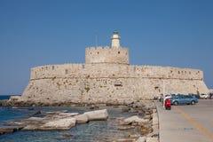 Santa Claus Fortress på pir i den Mandraki hamnen Arkivfoton