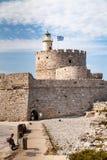 Santa Claus Fortress på pir i den Mandraki hamnen Royaltyfri Bild