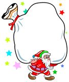 Santa claus frame. Line art colourful santa claus frame design Royalty Free Stock Photography