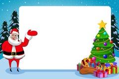 Santa Claus Frame Xmas Tree Stock Photos