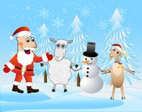 Santa claus with friends in the winter forest Stock Images