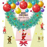 Santa Claus and friends wish you merry Christmas & happy new year. Merry Christmas & happy new year ,Santa Claus and friends dance under Christmas balls,cartoon Stock Photo