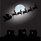 Santa Claus and full moon with Christmas background and greeting card vector Stock Photo