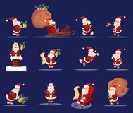 Santa Claus Funny Caroon Character Icon Set. Flat isolated icons set with Santa Claus in traditional costume with Christmas holiday gifts sack blue background Royalty Free Stock Image