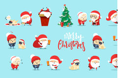 Santa Claus Funny Christmas characters in flat style. Stock Image