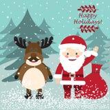 Santa Claus and funny deer. Christmas postcard Royalty Free Stock Photography