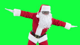 Santa Claus funny pilot chroma key (green screen) stock footage