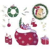 Santa Claus gåvor i påse Julklappar plundrar, högen av sackful och rolig förvånad xmas-gåva för sötsakgåvapriset med tecknade fil stock illustrationer