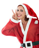 Santa Claus göra en gest seger Royaltyfri Bild