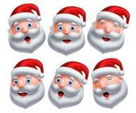 Santa Claus głowy wektoru set Santa Claus emoticons z szczęśliwymi i śmiesznymi wyrazami twarzy ilustracja wektor