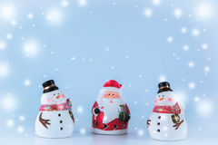 Santa claus and Gang of Snowman with snow flake Stock Image