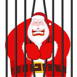 Santa Claus gangster. Christmas in prison. Window in prison with. Bars. Bad Santa prisoner criminal. New year is canceled. Jail break royalty free illustration
