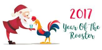 Santa Claus geeft voorstelt haan De vectorillustratie van Kerstmis Het symbool van het nieuwe jaar 2017 De karakters van het beel royalty-vrije stock foto