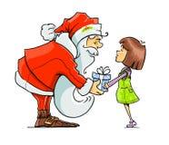 Santa Claus ger gåvan till flickan Royaltyfri Fotografi