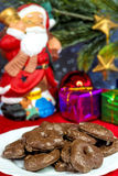 Santa Claus with German Christmas cakes Royalty Free Stock Photos