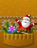 Santa Claus, Geschenk, Kiefernzweige in gestrickter Tasche Lizenzfreie Stockfotos