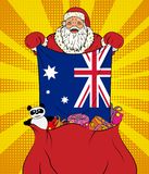 Santa Claus gets national flag of Australia out of the bag with toys in pop art style. Illustration of new year in pop art style. On yellow background vector illustration