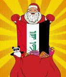 Santa Claus gets national flag of Iraq out of the bag with toys in pop art style. Illustration of new year in pop art style vector illustration