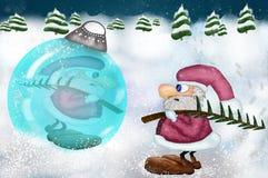 Santa Claus gevonden Kerstmisbel vector illustratie
