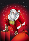 Santa claus gift. Santa Claus tries on boots from a snakeskin as a Christmas gift stock illustration