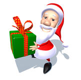 Santa Claus with a gift Stock Images