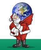 Santa claus gift. Santa claus and the world royalty free illustration