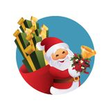 Santa Claus with gift bag and bell in hand. Royalty Free Stock Image