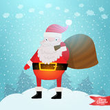 Santa Claus with gift bag. Christmas background Royalty Free Stock Image