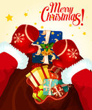Santa Claus with gift bag Christmas card design Stock Images