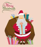 Santa claus with gift bag in christmas day. Santa claus vector on brown back ground.Santa claus with gift bag in christmas day.Christmas vintage card and happy Stock Photo