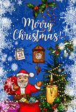 Santa Claus with gift bag Christmas greeting card. Xmas tree and Santa with presents sketch banner with candle and holly berry branch, snowflake, ribbon bow Stock Images