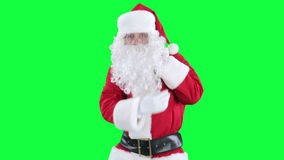 Santa Claus with gift bag chroma key (green screen) stock video